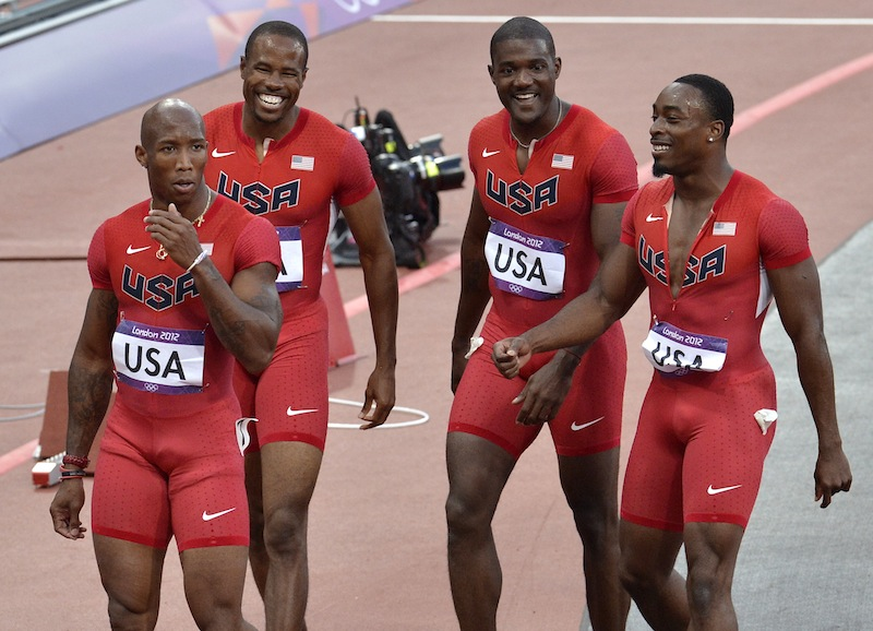US men's 4 x100-meters relay team from left, Trell Kimmons , Darvis Patton, Justin Gatlin and Jeffrey Demps during the athletics in the Olympic Stadium at the 2012 Summer Olympics, London, Friday, Aug. 10, 2012. The New England Patriots have signed Demps, according to multiple reports. (AP Photo/Martin Meissner) 2012 London Olympic Games Summer Olympic games Olympic games Sports Events XXX Olympiad