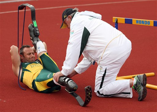 South Africa's Oscar Pistorius during a training session at Mayesbrook Park Arena in Barking, England on Monday. The 2012 Summer Paralympic Games will will take place between Aug. 29 to Sept. 9.