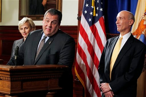 Gov. Chris Christie announces that he has appointed Lee Solomon, right, as a Superior Court judge in this 2011 file photo. Christie became the first Republican elected New Jersey governor in a dozen years when he defeated Democratic millionaire and ex-Wall Street executive Jon Corzine in 2009.