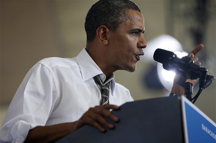President Barack Obama speaks at a campaign event, Wednesday, Aug. 29, 2012 in Charlottesville, Va. (AP Photo/Pablo Martinez Monsivais)