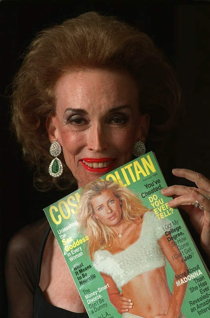 This Jan. 24, 1996 file photo shows Cosmopolitan Editor-in-Chief Helen Gurley Brown holding an issue of the magazine before a Waldorf-Astoria ceremony where she was honored with a Henry Johnson Fisher Award for lifetime achievement in the magazine industry in New York. Brown, longtime editor of Cosmopolitan magazine, died Monday, Aug. 13, 2012 at a hospital in New York after a brief hospitalization. She was 90. (AP Photo/Mark Lennihan, file)