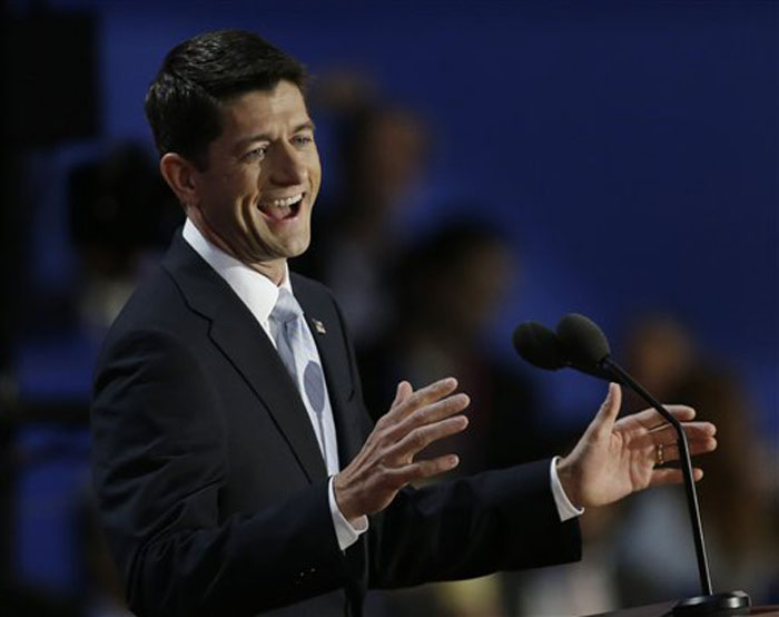 Republican vice presidential nominee, Rep. Paul Ryan speaks to delegates during the Republican National Convention in Tampa, Fla., on Wednesday, Aug. 29, 2012. (AP Photo/Charlie Neibergall)