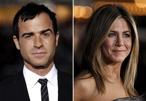Combined photos show Justin Theroux, left, and Jennifer Aniston. Aniston's rep, Stephen Huvane, on Sunday confirmed to The Associated Press that Theroux, 41, an actor and screenwriter, and the 43-year-old actress are engaged. It was first reported by People.com.