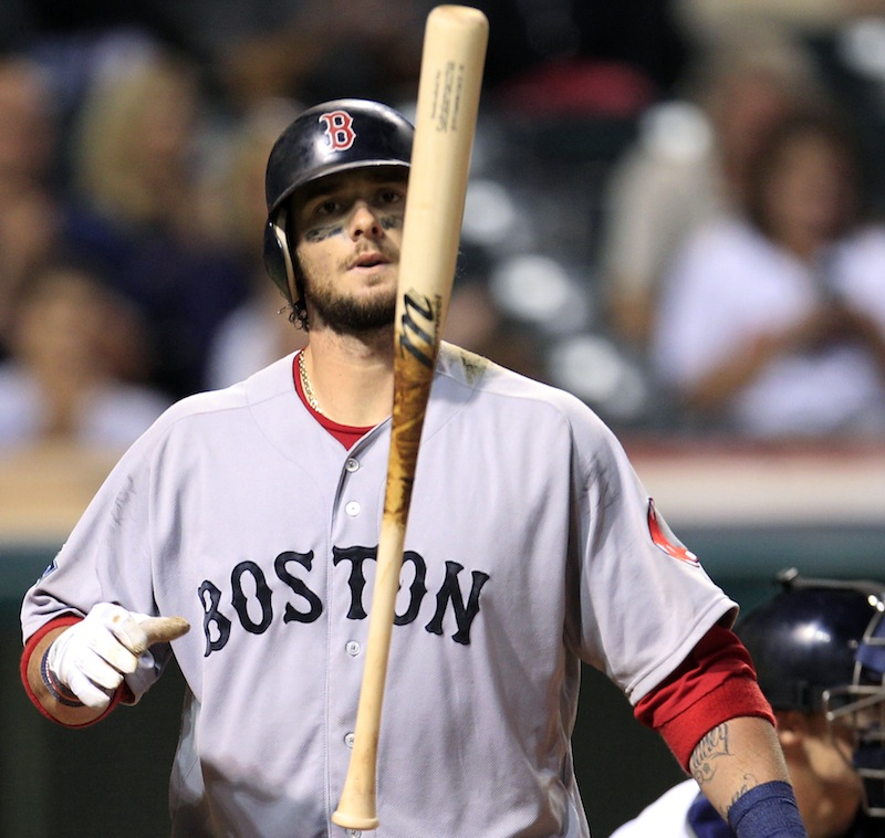 Boston Red Sox's Jarrod Saltalamacchia tosses his bat after striking out against Cleveland Indians relief pitcher Vinnie Pestano in the eighth inning of a baseball game, Thursday, Aug. 9, 2012, in Cleveland. (AP Photo/Tony Dejak)