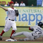 Boston Red Sox's Pedro Ciriaco (77) slides into second base during the double play against Texas Rangers second baseman Ian Kinsler, left, during the first inning of a baseball game on Wednesday, July 25, 2012, in Arlington, Texas. (AP Photo/LM Otero)