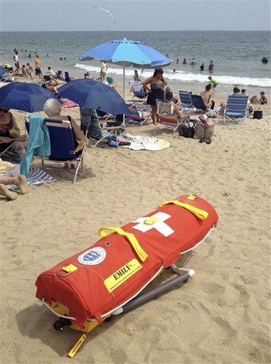 EMILY – Emergency Integrated Lifesaving Lanyard – a remote-controlled battery powered lifesaving device, sits on Old Town Beach in Westerly, R.I.