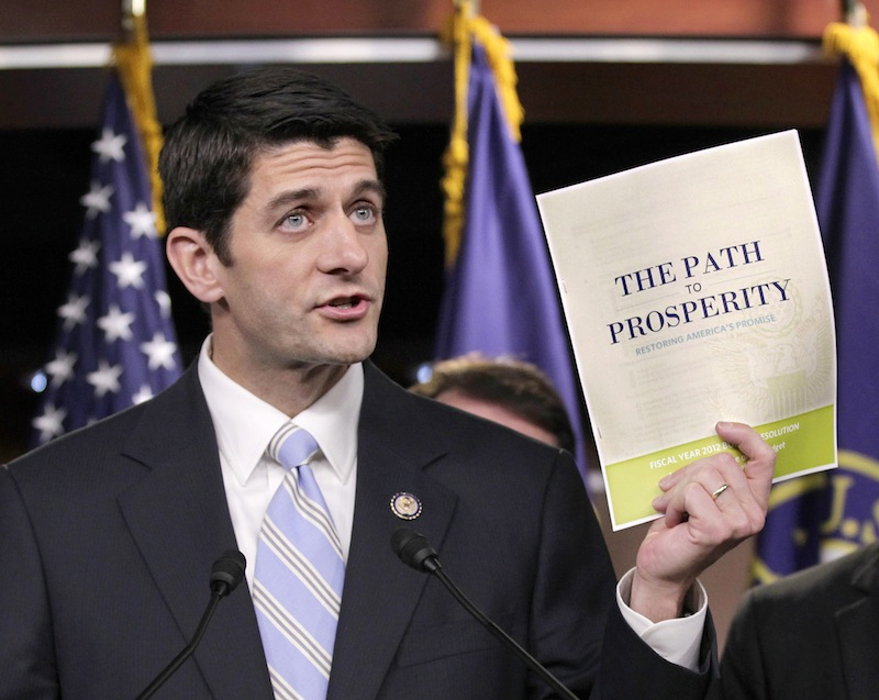 In this April 5, 2011 file photo, Republican Vice Presidential candidate, current House Budget Committee Chairman Rep. Paul Ryan, R-Wis., introduces his controversial