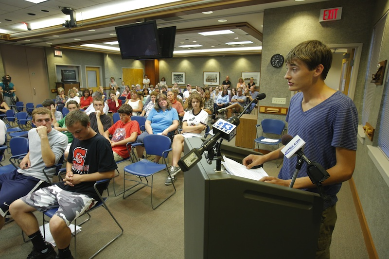 """Jack Sullivan, the Scarborough High School senior class president, addresses the school board on Thursday, August 16, 2012. """"This is just the tip of the iceberg,"""" Sullivan said. """"If this doesn't stop now, there's no telling what's next."""""""