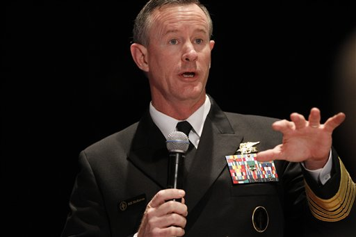 FILE - Navy Adm. Bill McRaven, commander of the U.S. Special Operations Command, addresses the National Defense Industrial Association (NDIA), in Washington, in this Feb. 7, 2012 file photo. Special operations chief McRaven is warning he will take legal action against anyone under his command if they're found guilty of exposing sensitive information that could cause fellow forces harm. In an email Thursday Aug. 23, 2012 to special operations forces and obtained by The Associated Press, McRaven threatens to pursue �every option available to hold members accountable, including criminal prosecution.� (AP Photo/Charles Dharapak, File)