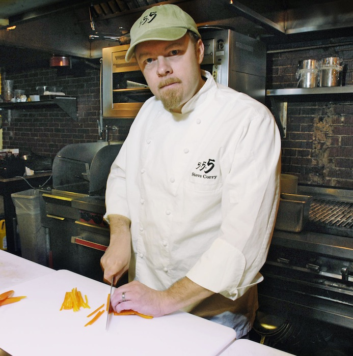 In this 2008 file photo, Five Fifty-Five restaurant Chef Steve Corry juliennes orange peppers. Corry will host the final heat of the world lobster championship at his Scarborough home this week.