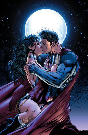 "This comic book image released by DC Entertainment shows Wonder Woman and Superman kissing from the ""Justice League 12"" issue. Wonder Woman and Superman are officially an item, locking lips in a passionate embrace as the pair realize that there's no one out there like them. The couple's kiss is the culmination of a dramatic story in ""Justice League"" No. 12 which marks the first full year since DC relaunched its stable of heroes with new stories, new costumes and revised origins. (AP Photo/DC Entertainment)"