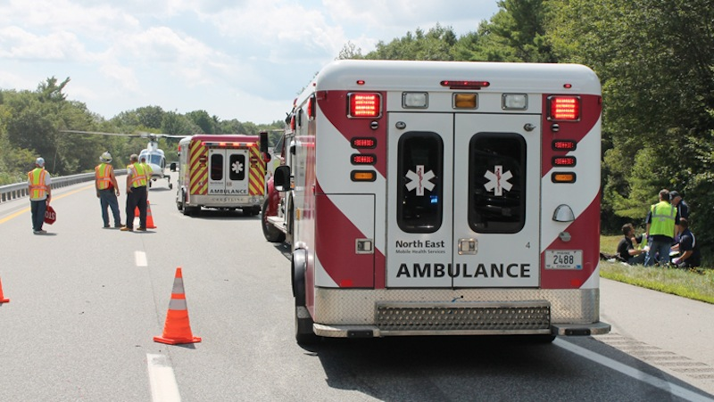 Ambulances respond to a crash on Interstate 295 in Bowdoinham.