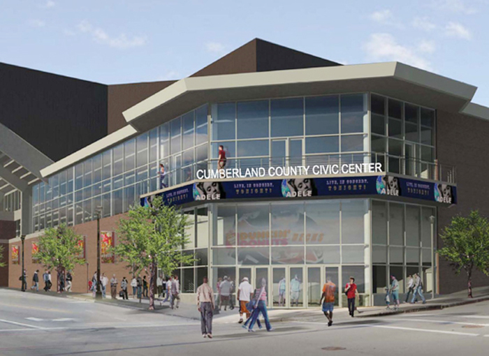 Artist's rendering of future main entrance of the Civic Center at Spring and Center streets, which is now only an exit.