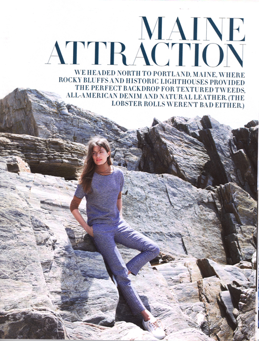 J. Crew's 12-page spread features models posed along Maine's signature rocky coast.