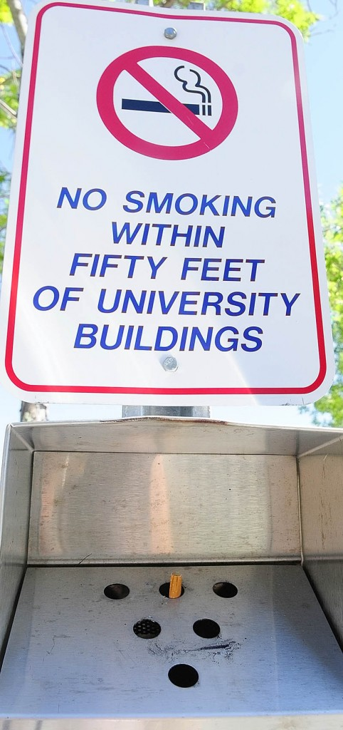 There are metal containers for cigarette butts outside buildings a the The University of Maine at Augusta.The University recently announced that it will go tobacco-free effective Jan. 1, 2013, joining the Orono and Farmington campuses.