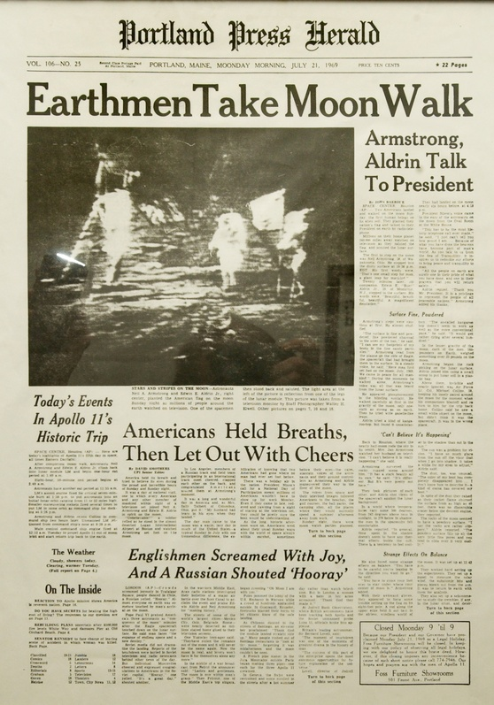 The front page of the Portland Press Herald hails the first manned landing on the moon by America's Apollo 11 astronauts Neil Armstrong and Buzz Aldrin in July 1969. Press Herald front page