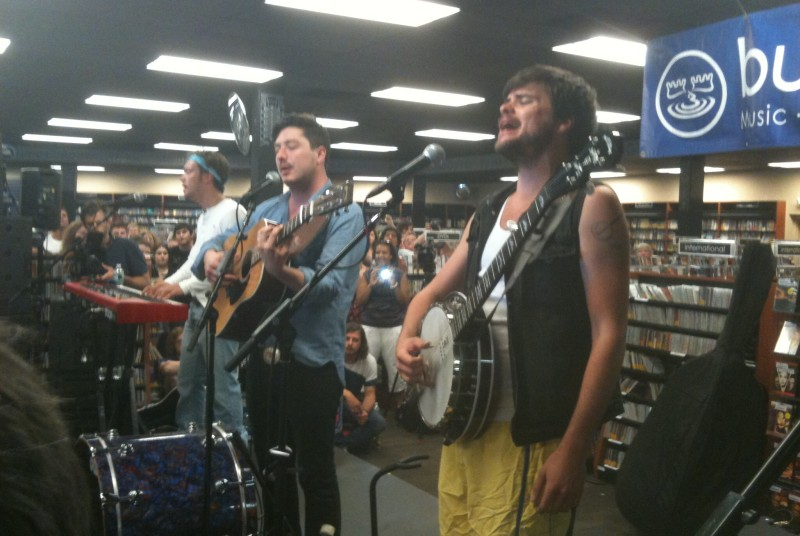 Mumford & Sons performs Friday at Bull Moose in Scarborough. John Ewing/Staff Photographer