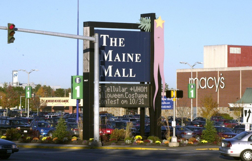This 2004 file photo shows The Maine Mall sign along the Maine Mall Road in South Portland. The Maine Mall is adding two tenants this month with the arrival of clothing retailer J. Crew and Lush Handmade Cosmetics, which will bring the shopping center nearly to full occupancy.