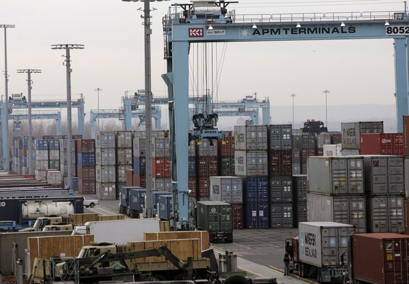 This 2012 file photo shows a port in New Jersey. A union representing dock workers at the East Coast's busiest port has authorized a strike, which could stretch from Maine to Texas if a new contract deal isn't reached by the end of September.
