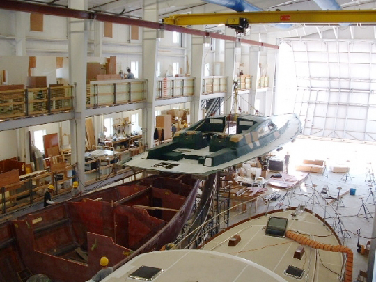 The Ipanema, shown being built at Lyman-Morse Boatbuilding in Thomaston, is about 60 percent done. The yacht was auctioned Wednesday in Thomaston.