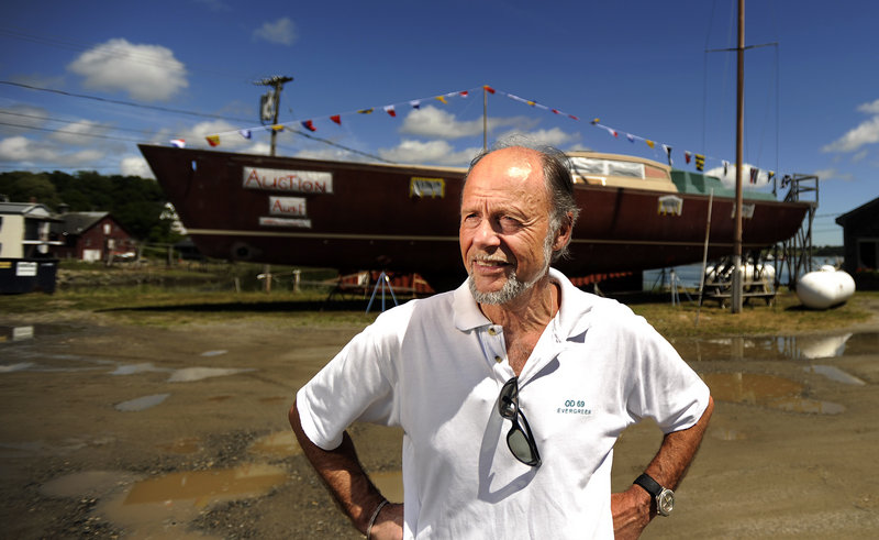 Ulf Rogeberg of Denmark designed the 70-foot sailboat that was sold at auction at Lyman-Morse Boatbuilding in Thomaston on Wednesday. Cabot Lyman, owner of the business, says the company now has the right to find another buyer.