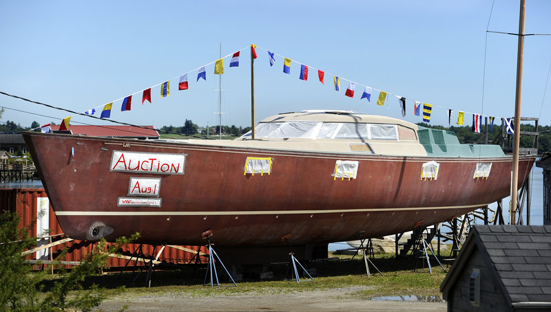 About a dozen people attended the auction of the unfinished 70-foot sailboat at Lyman-Morse Boatbuilding in Thomaston. According to court documents, original owner Richard Lee owed more than $890,000 to Lyman-Morse.