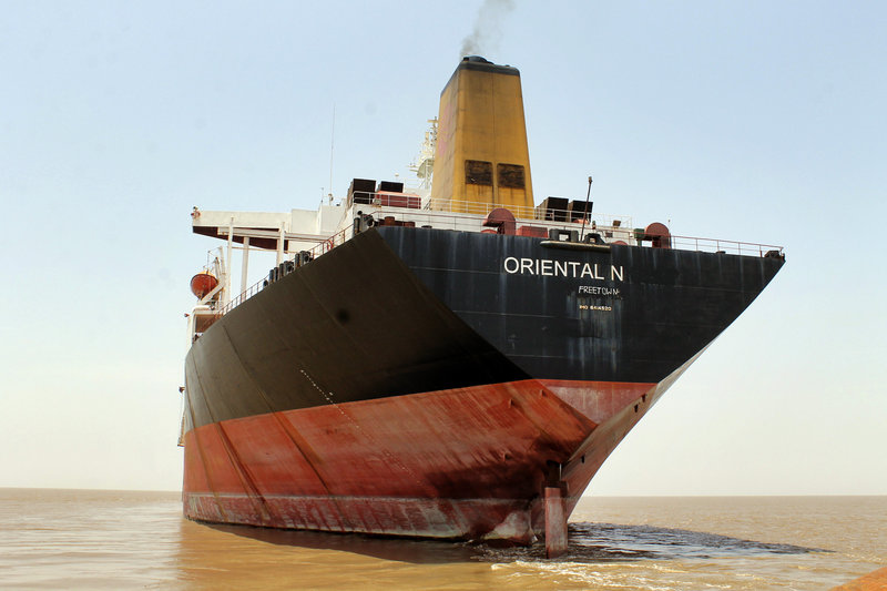 The former Exxon Valdez, seen on June 30, is anchored near the Alang ship-breaking yard in western India. The ship has changed names and owners six times since being involved in an oil-spill in 1989 in Alaska.