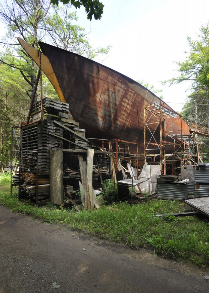 """Harold Arndt of Freeport is building a schooner from scrap metal and other debris behind his home on Flying Point. """"I don't disagree that it looks like junk,"""" he said. """"I disagree that it is junk. I can find a use for most of it."""""""