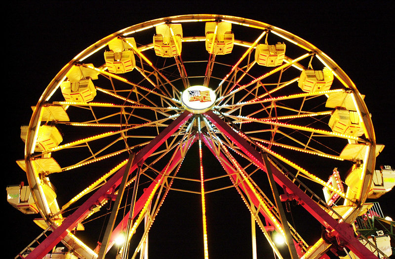 The Ferris wheel lights the night sky at the Cumberland County Fair.