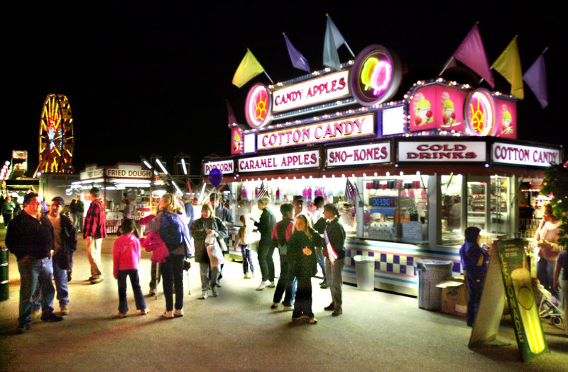 Bright lights illuminate fairgoers at the Cumberland County Fair.