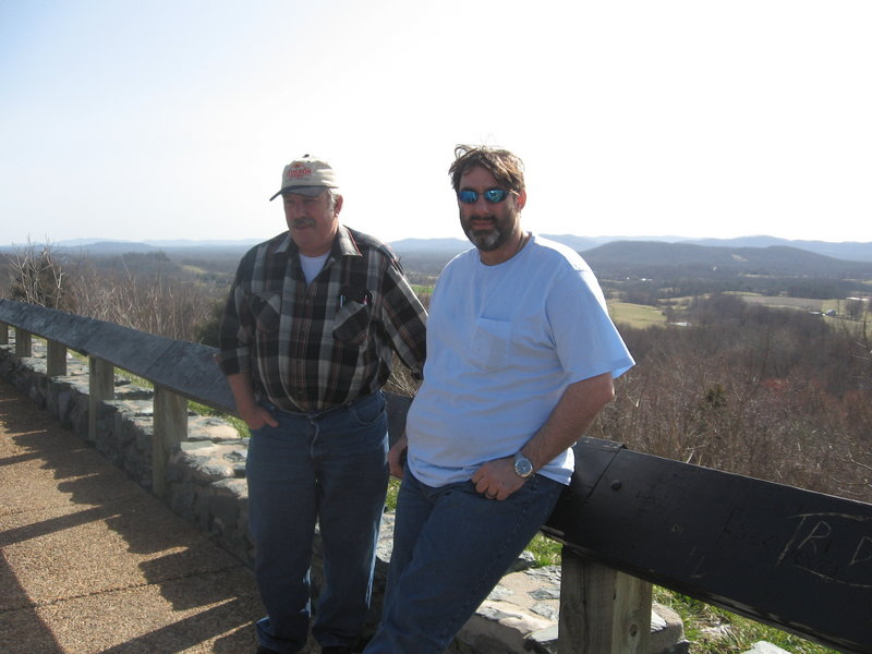 """Steven Searcy, left, on vacation in Virginia in March 2012. """"He lived a good and respectable life,"""" said his wife, Debbie Searcy."""