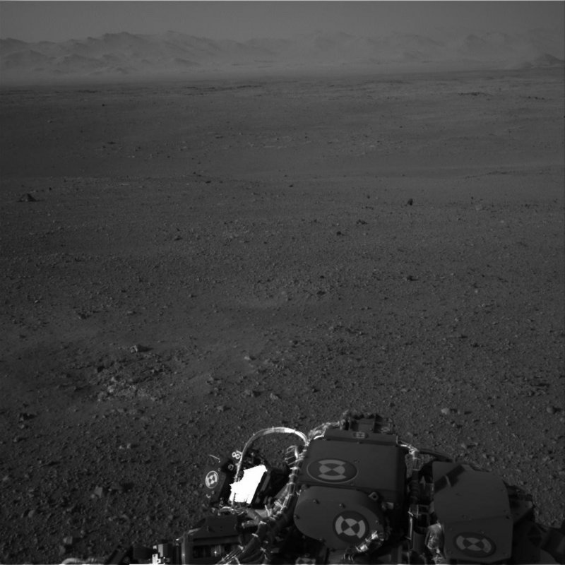 This image, released Wednesday by NASA and taken by cameras on the Curiosity, shows the Martian horizon. The rover landed Aug. 5 on a $2.5 billion mission.