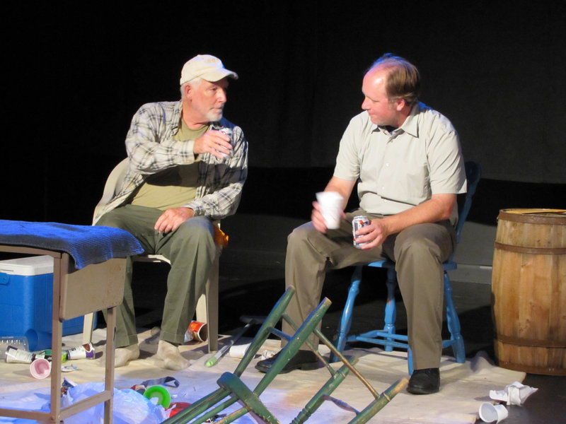 "Chris Newcomb, left, and Eric Worthley in ""Upholding the Law,"" part of ""Maine Quartet"" at Lucid Stage at 2 p.m. today."