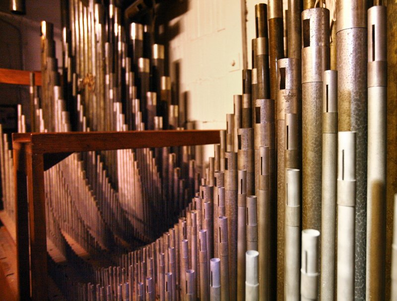 Pipes in the rear of the Kotzschmar will once again deliver the organ's full power after the restoration. The Friends of the Kotzschmar Organ have raised much of the money for the project, but the Portland City Council approved up to $1.25 million in bonds to help cover the cost.