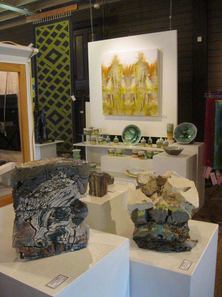 "Ceramics by Jonathan Mess (foreground) and Liz Proffetty (background) are part of the ""Vital Signs"" group show at The Stable Gallery in Damariscotta."