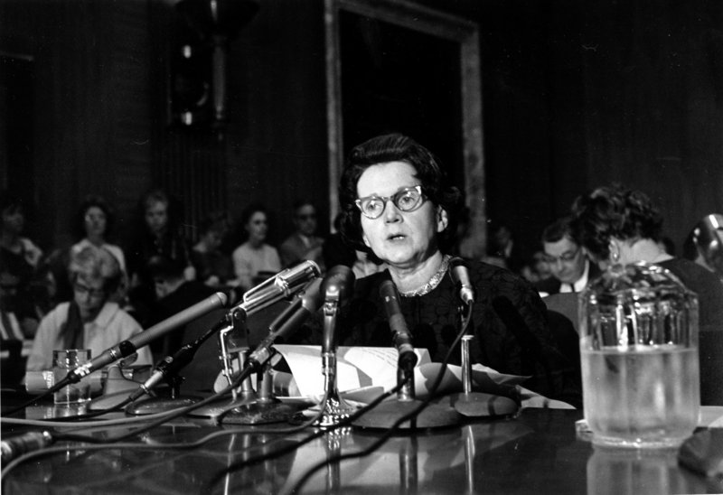 "Rachel Carson, whose book ""Silent Spring"" led to scrutiny of pesticides, testifies before a Senate subcommittee in Washington, D.C., on June 4, 1963. She urged Congress to curb aerial spraying and the sale of chemical pesticides."