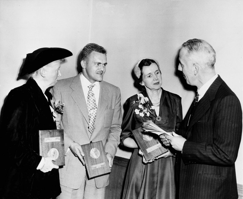 "National Book Award winners are, from left, Marianne Moore, James Jones and Rachel Carson, author of ""The Sea Around Us."" At right is John Mason Brown, author and toastmaster at the ceremonies held in the Hotel Commodore in New York City in 1952."