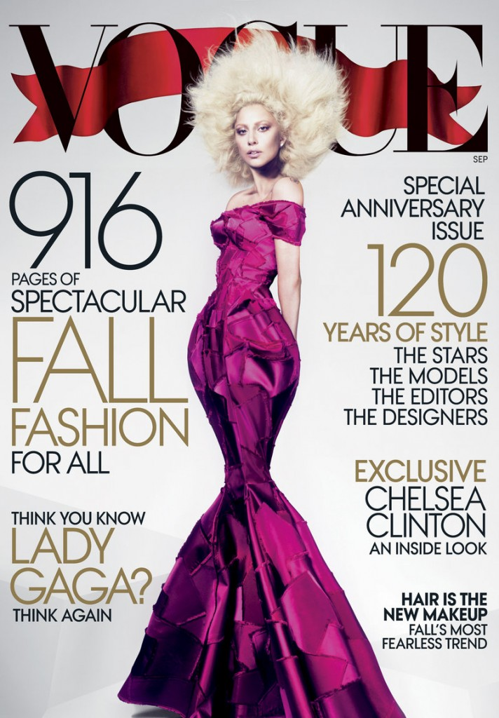 Popular singer Lady Gaga is featured in the September issue of Vogue, the magazine's 120th anniversary issue and its largest yet.