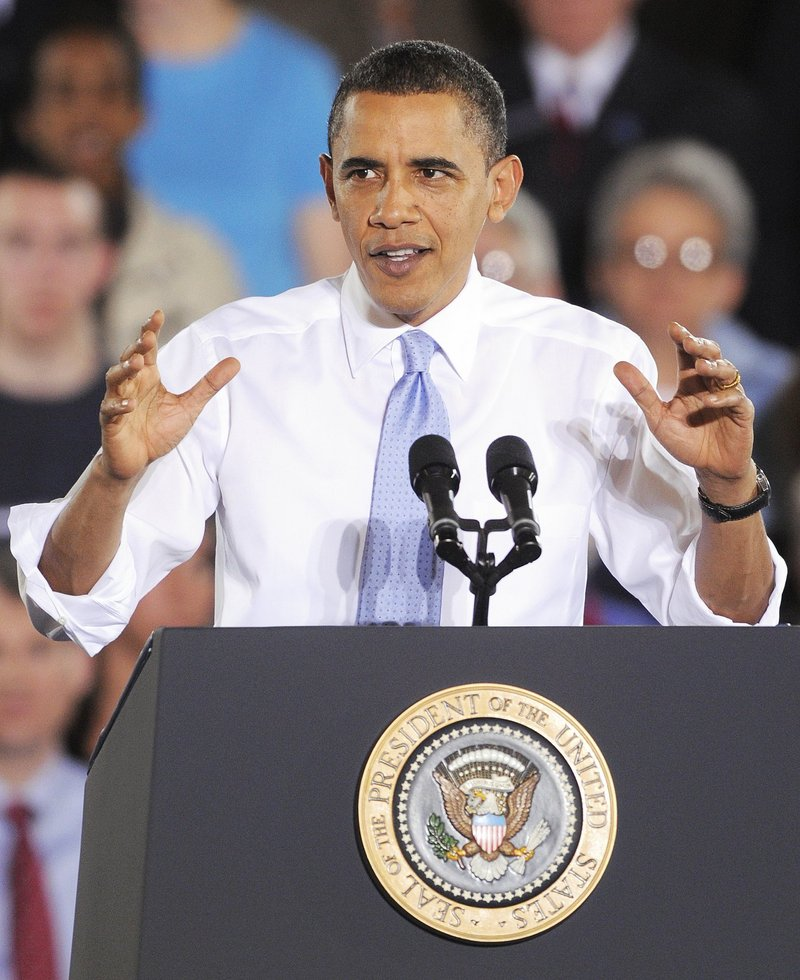President Obama discusses his just-passed health-care bill with a Portland audience in April 2010.