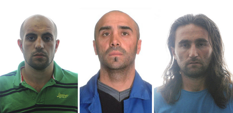 Three suspected al-Qaida members arrested by authorities in Spain are seen in this combined photo. From left are Eldar Magomedov, Cengiz Yalcin and Mohamed Ankari Adamov.
