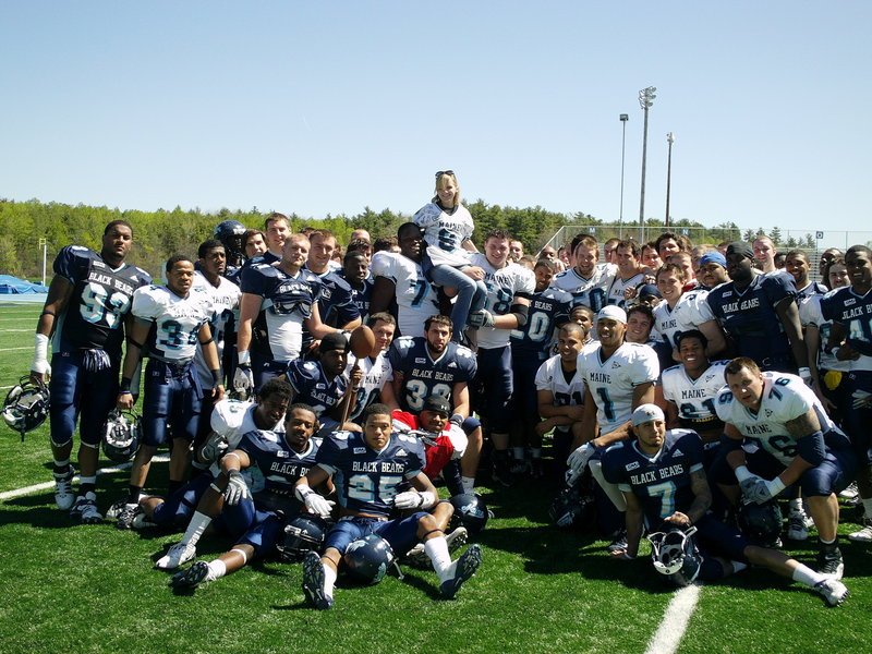 Ashley Drew was inspired by the University of Maine football team when she met the players after a scrimmage in May 2010. Now the team is inspired by her.
