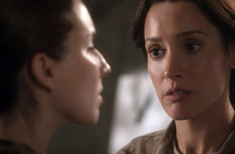 "Beals, right, confronts ""Lauren"" co-star Troian Bellisario, who portrays a female soldier who reports being raped."