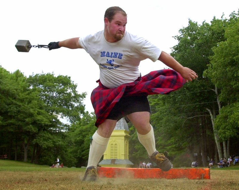 Contestants participate in events at past years' Maine Highland Games. This year's event takes place Saturday at the Topsham Fairgrounds.