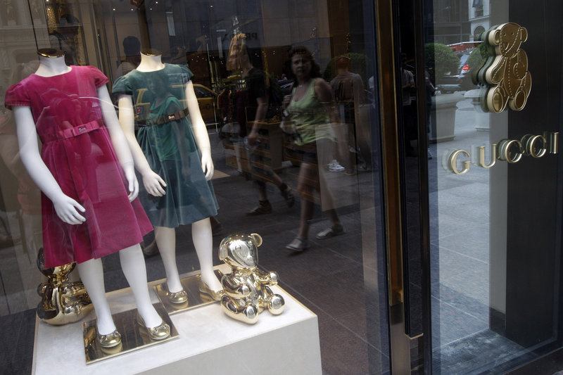 Girls dresses are on display at the Gucci children's boutique, a first for the company, on Fifth Avenue in New York. Gucci, which launched a children's collection two years ago, opened the store last year, catering to youngsters with wealthy, highly stylized parents.