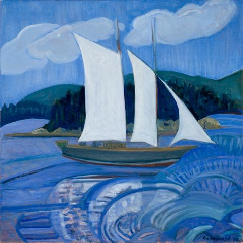 """Sail Away"" by Brita Holmquist, from ""The Log of Vispa,"" continuing through Aug. 26 at Elizabeth Moss Gallery in Falmouth."