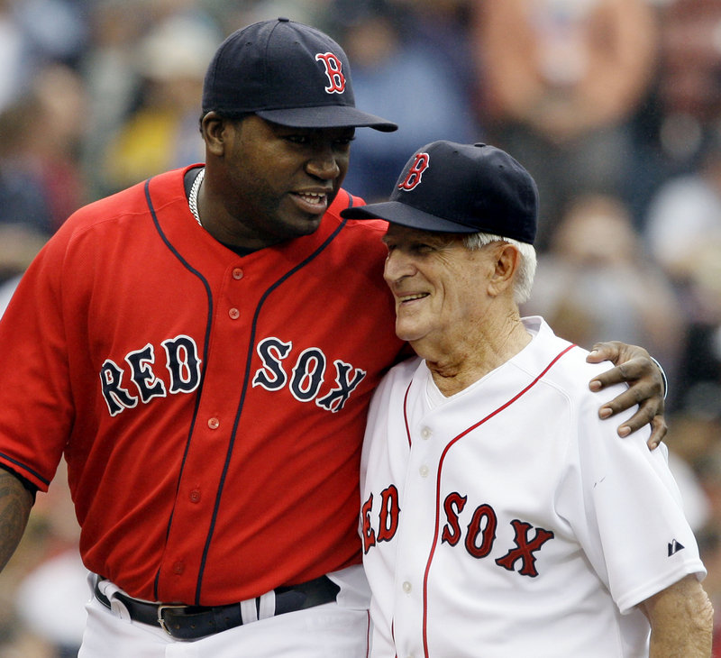 David Ortiz, left, was just part of the many generations of players who passed through the Boston Red Sox and realized the impact Johnny Pesky had on the organization.