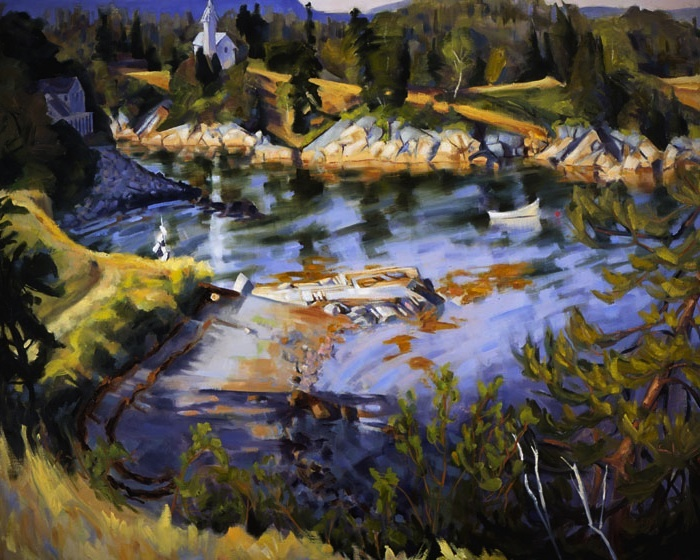 """High Tide at Goose Cove"" by Joellyn Duesberry, from ""40 Years Celebrating Maine,"" continuing through Sept. 29 at Gleason Fine Art in Portland."