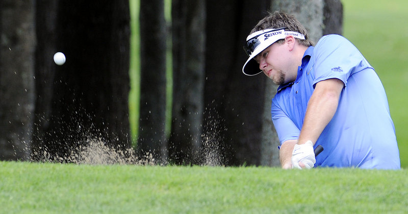 Ryan Gay blasts out of a trap Wednesday during his first-round loss to Jack Wyman on an extra hole at the Match Play Invitational. Wyman will play Jason Gall in a quarterfinal.