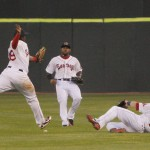 Second baseman Marquez Smith of the Portland Sea Dogs just misses catching a pop fly Wednesday night that drops as center fielder Jackie Bradley Jr. and sliding right fielder Bryce Brentz also can't reach. Didn't matter. The Sea Dogs beat Altoona 1-0 at Hadlock Field.