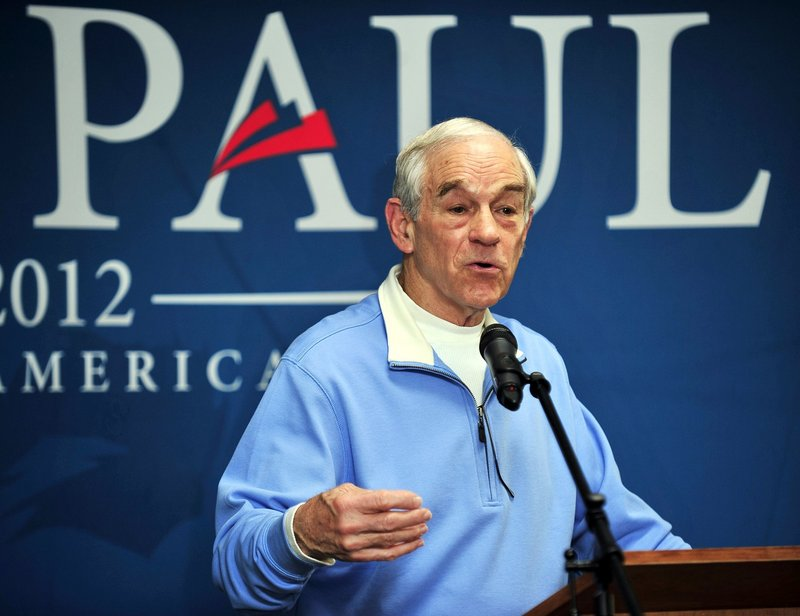 Ron Paul speaks to a crowd at Hastings Hall on the University of Southern Maine's Gorham campus in January.